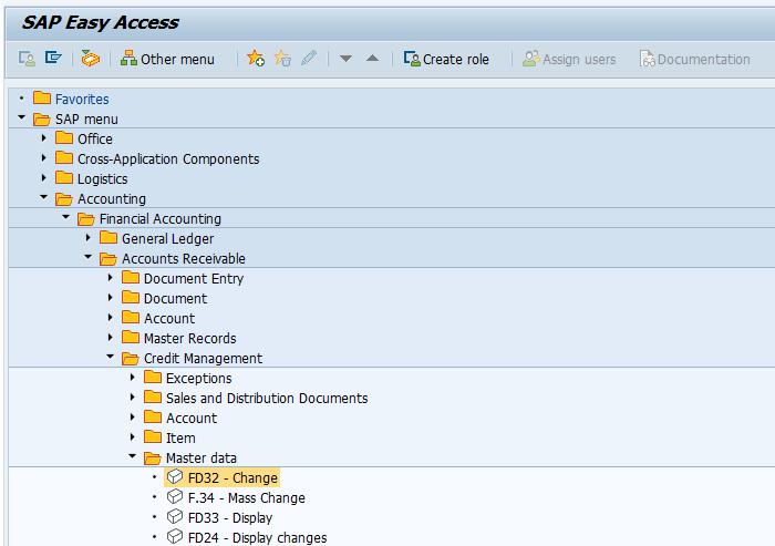 SAP FI Customer Credit Control Area