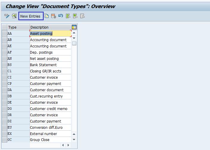 SAP FI Document Type Keys