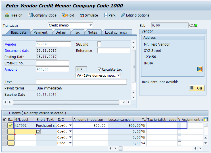 sap fico credit memo for purchases returns