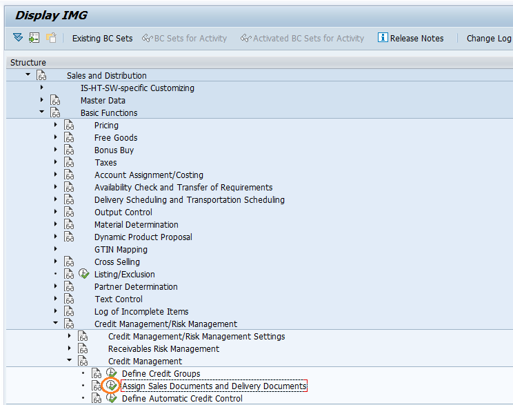 SAP SD Assign sales documents and delivery types to credit group