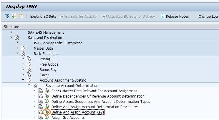 SAP SD Accounting Key
