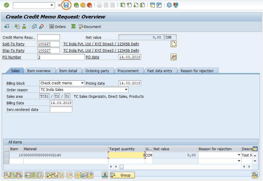 SAP SD Create Credit Memo