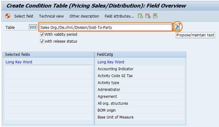Sap Sd Define Condition Tables