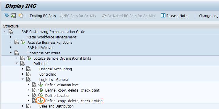 SAP SD Define division