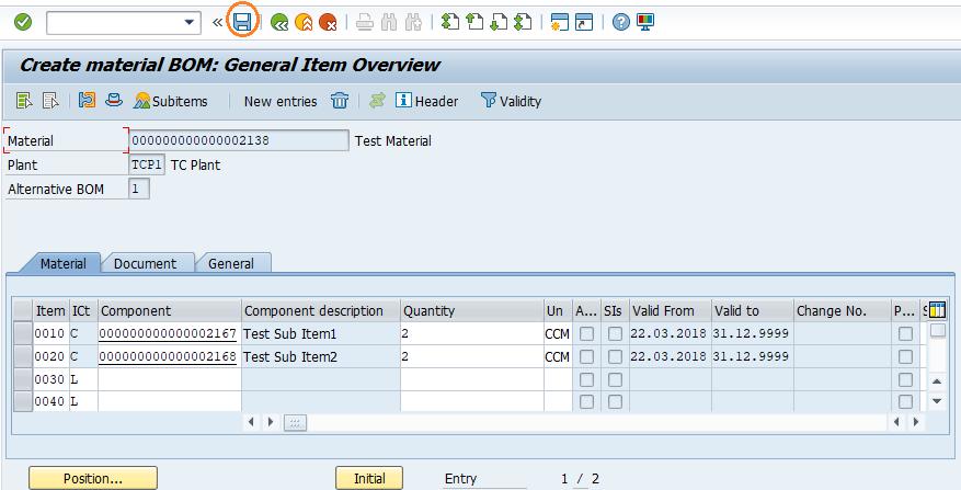 SAP SD Create Materials bill