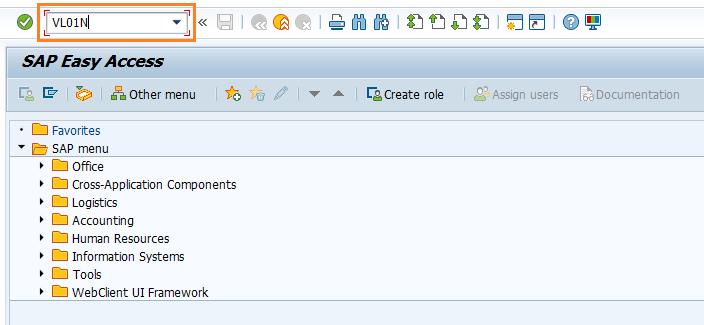 SAP SD Create Picking Request