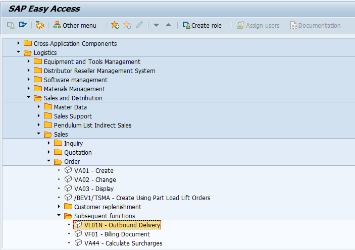 SAP SD Create Return Delivery Document
