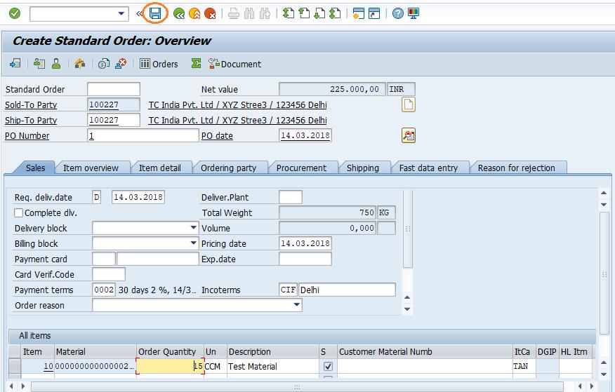 SAP SD Create Sales Order