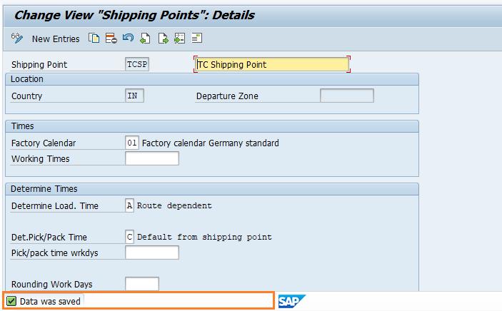 Sap Sd Define Shipping Point